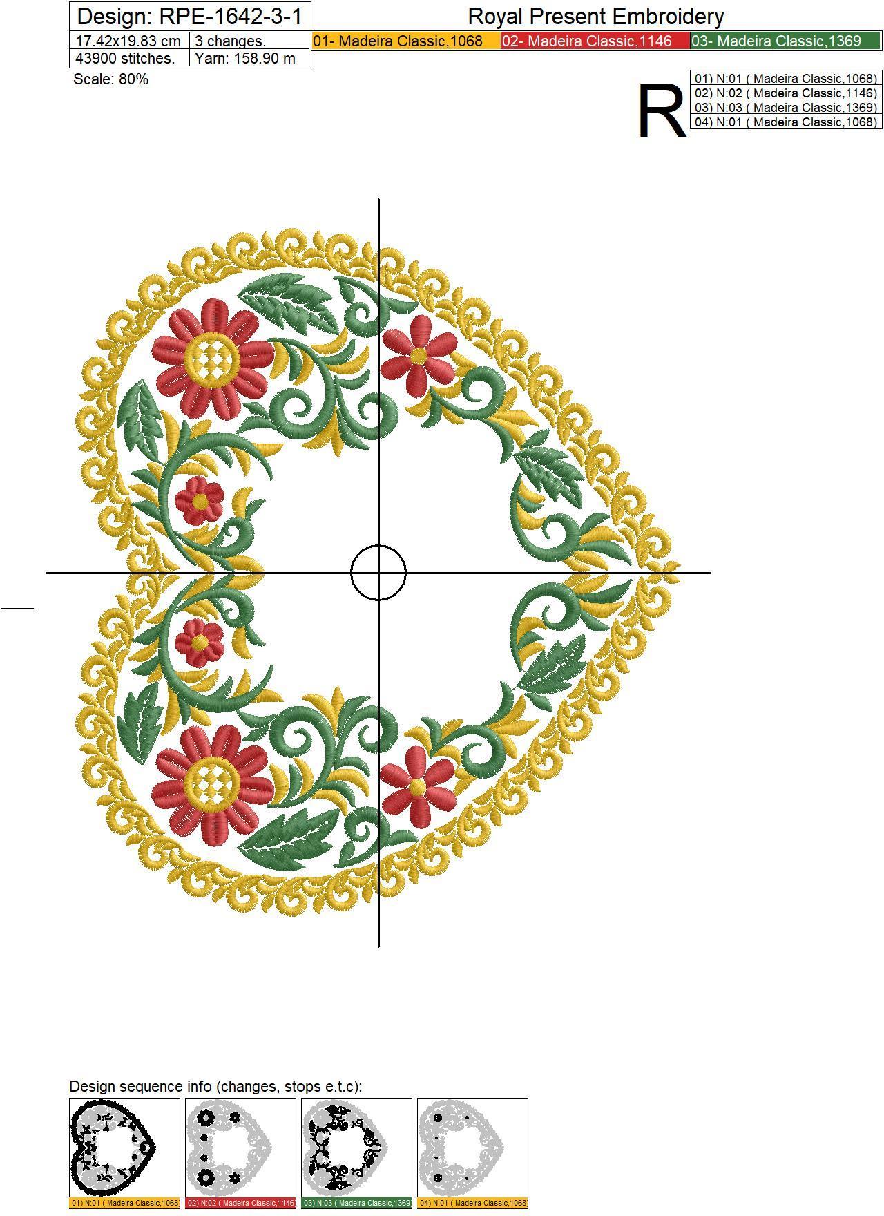 Дизайн машинной вышивки Сердце в стиле хохлома - 3 размера