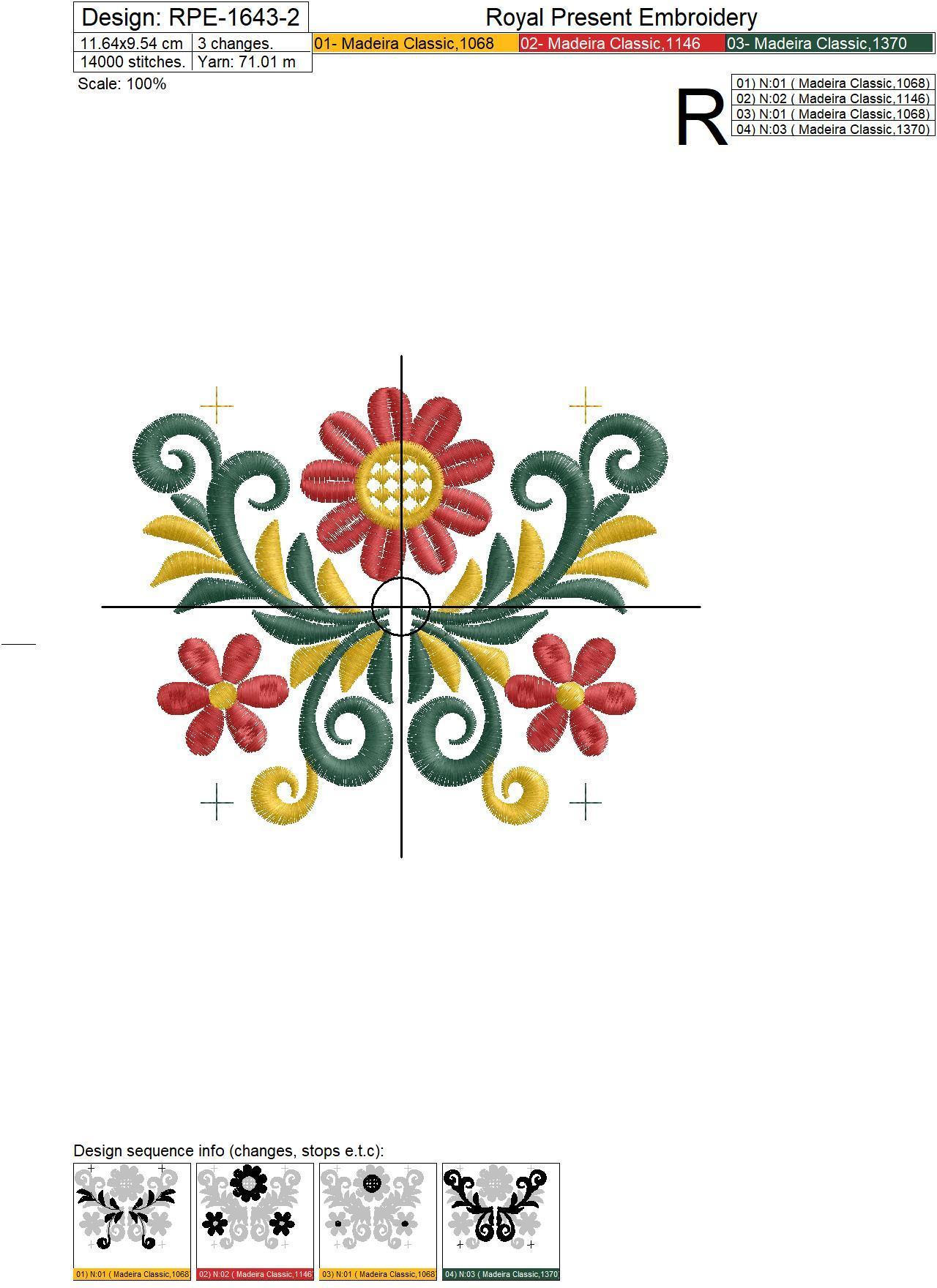 Фрагмент орнамента для машинной вышивки в стиле хохлома - 2 размера