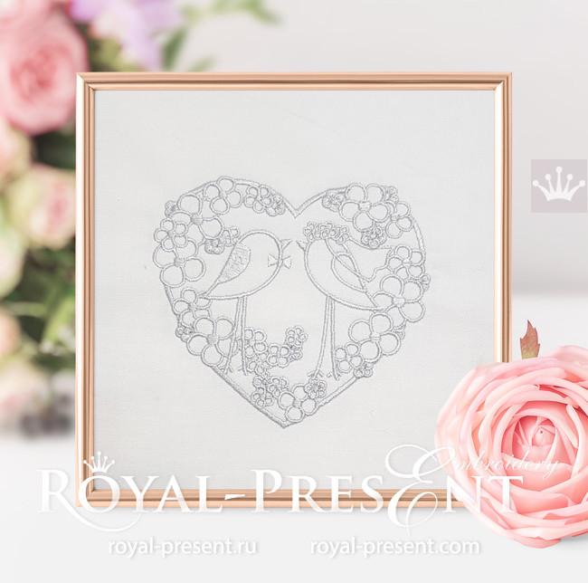 Дизайн машинной вышивки Жених и Невеста Птички - 6 размеров