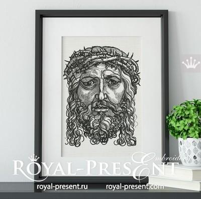 Дизайн машинной вышивки Портрет Христа в терновом венце
