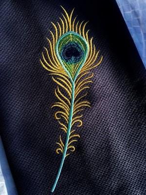 Дизайн машинной вышивки Перо павлина - 2 размера