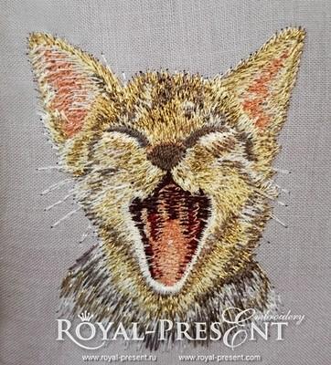 Дизайн машинной вышивки Котенок в кармане