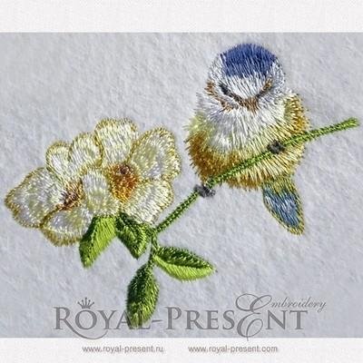 Дизайн машинной вышивки Синичка на цветущей ветке