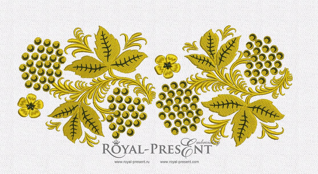 Дизайн машинной вышивки Бордюр Рябина Хохлома