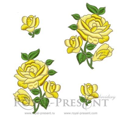 Дизайны машинной вышивки Розы