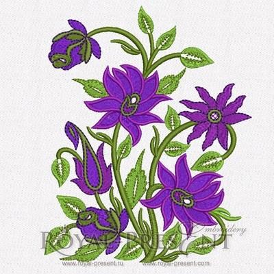 Дизайн для машинной вышивки Пурпурный Садовый букет