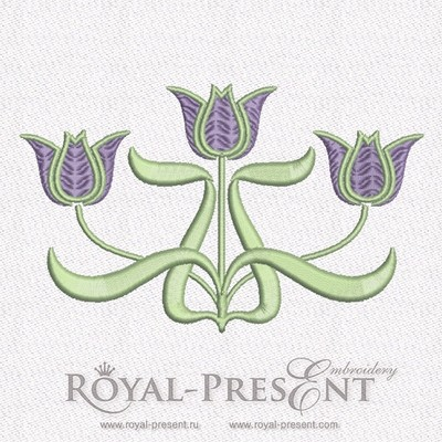 Дизайн машинной вышивки бесплатно Тюльпаны Ар Нуво