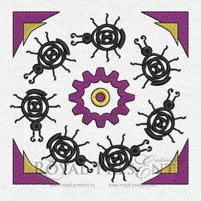 Дизайн машинной вышивки Африканский орнамент с жуками
