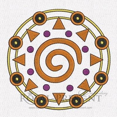 Дизайн машинной вышивки Круглый Африканский орнамент - 2 в 1