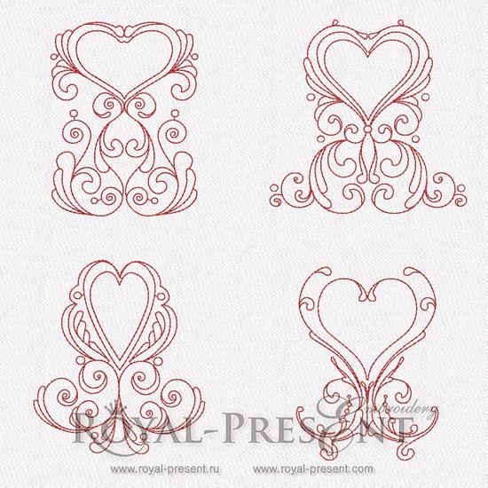 Коллекция дизайнов машинной вышивки - Сердечные орнаменты