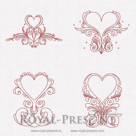 Коллекция дизайнов машинной вышивки - Сердечные орнаменты #2