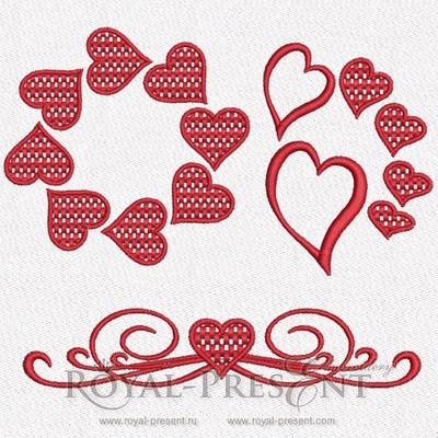 Набор дизайнов машинной вышивки  Орнаменты из сердечек
