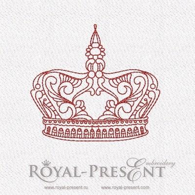 Дизайн машинной вышивки в стиле REDWORK - Корона #6