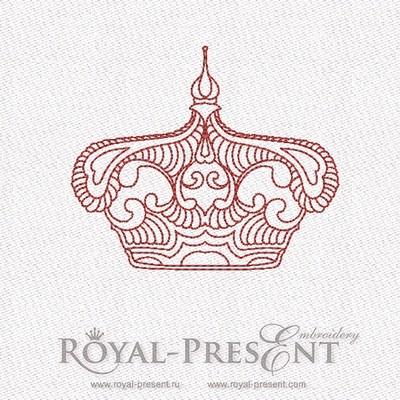 Дизайн машинной вышивки в стиле REDWORK - Корона #5