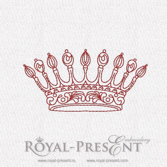 Дизайн машинной вышивки Корона в стиле REDWORK