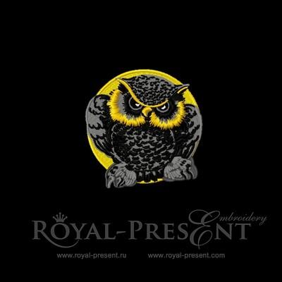 Дизайн для машинной вышивки Ночная сова
