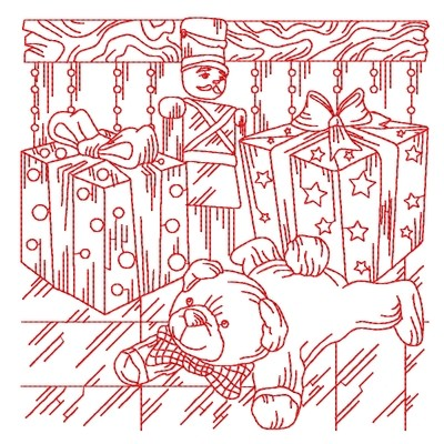 Дизайн для машинной вышивки Мишка и солдатик