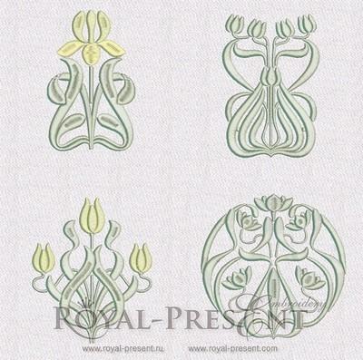 Набор дизайнов машинной вышивки Ар нуво