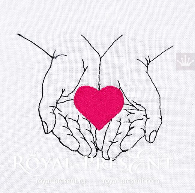 Дизайн машинной вышивки Сердце в руках - 6 размеров