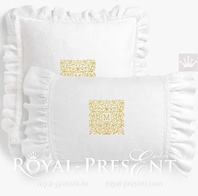 Дизайн машинной вышивки Квадратная рамка для монограммы