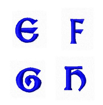 Дизайны вышивки Заглавные Мини буквы E F G H