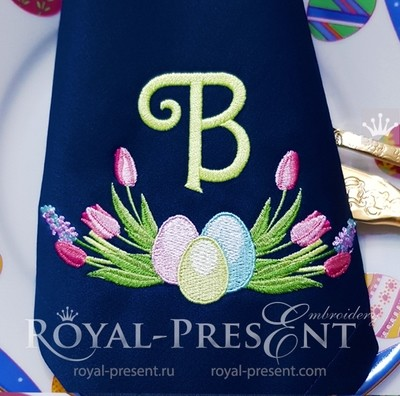 Дизайн машинной вышивки пасхальная рамка с тюльпанами - 4 размера