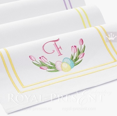 Пасхальный Дизайн машинной вышивки с тюльпанами - 4 размера