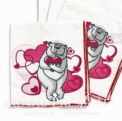 Дизайн машинной вышивки Влюбленный медведь - 3 размера