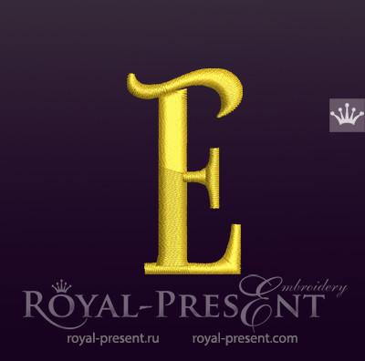 Дизайн машинной вышивки Заглавная буква E вариант 2