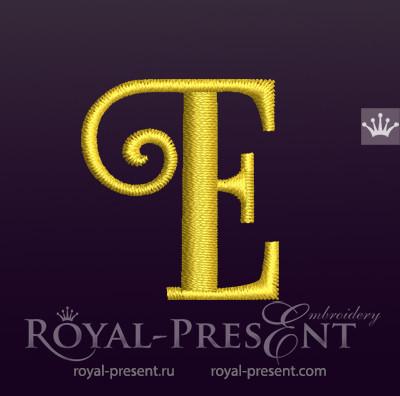 Дизайн машинной вышивки Заглавная буква E вариант 3