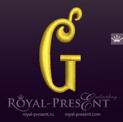 Дизайн машинной вышивки Заглавная буква G вариант 3