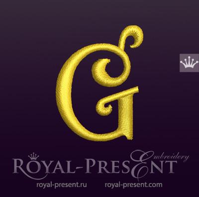 Дизайн машинной вышивки Заглавная буква G вариант 5