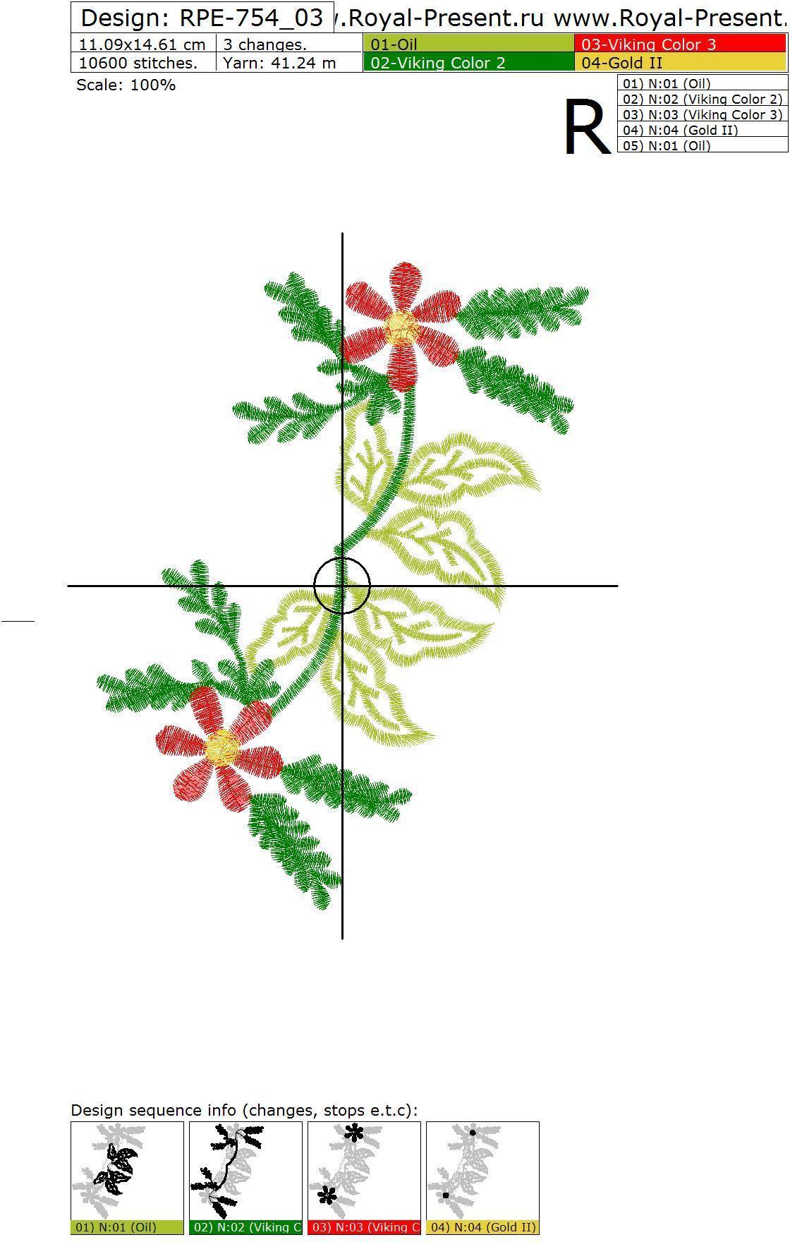 Дизайн для машинной вышивки Цветочная Горловина