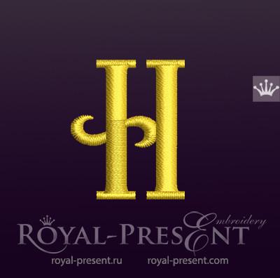 Дизайн машинной вышивки Заглавная буква H
