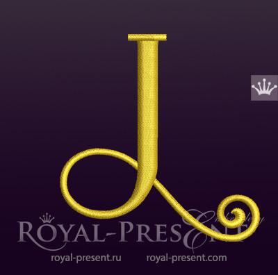 Дизайн машинной вышивки Заглавная буква J вариант 3