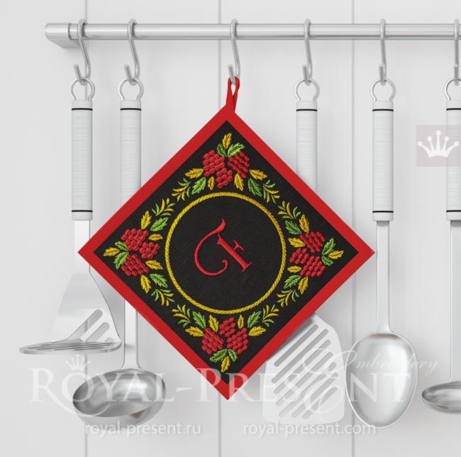Дизайн машинной вышивки Орнамент для монограммы хохлома - 3 размера RPE-1685