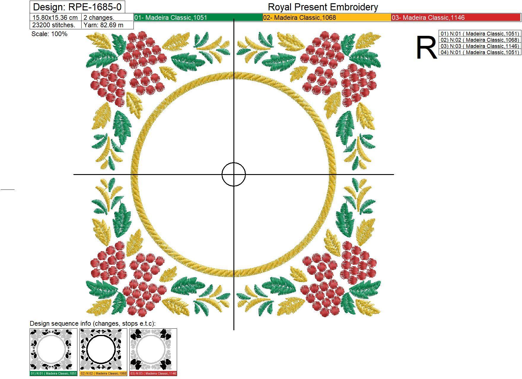 Дизайн машинной вышивки Орнамент для монограммы хохлома - 3 размера