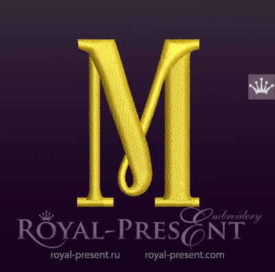 Дизайн машинной вышивки Заглавная буква M вариант 2