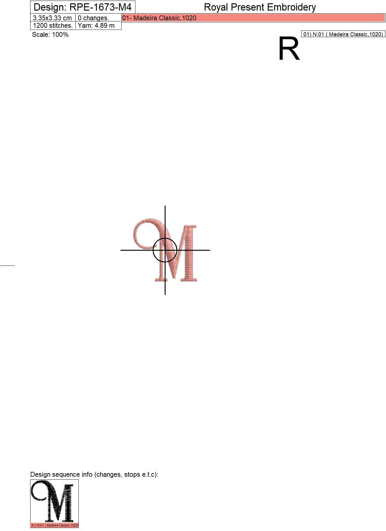 Дизайн машинной вышивки Заглавная буква M вариант 4