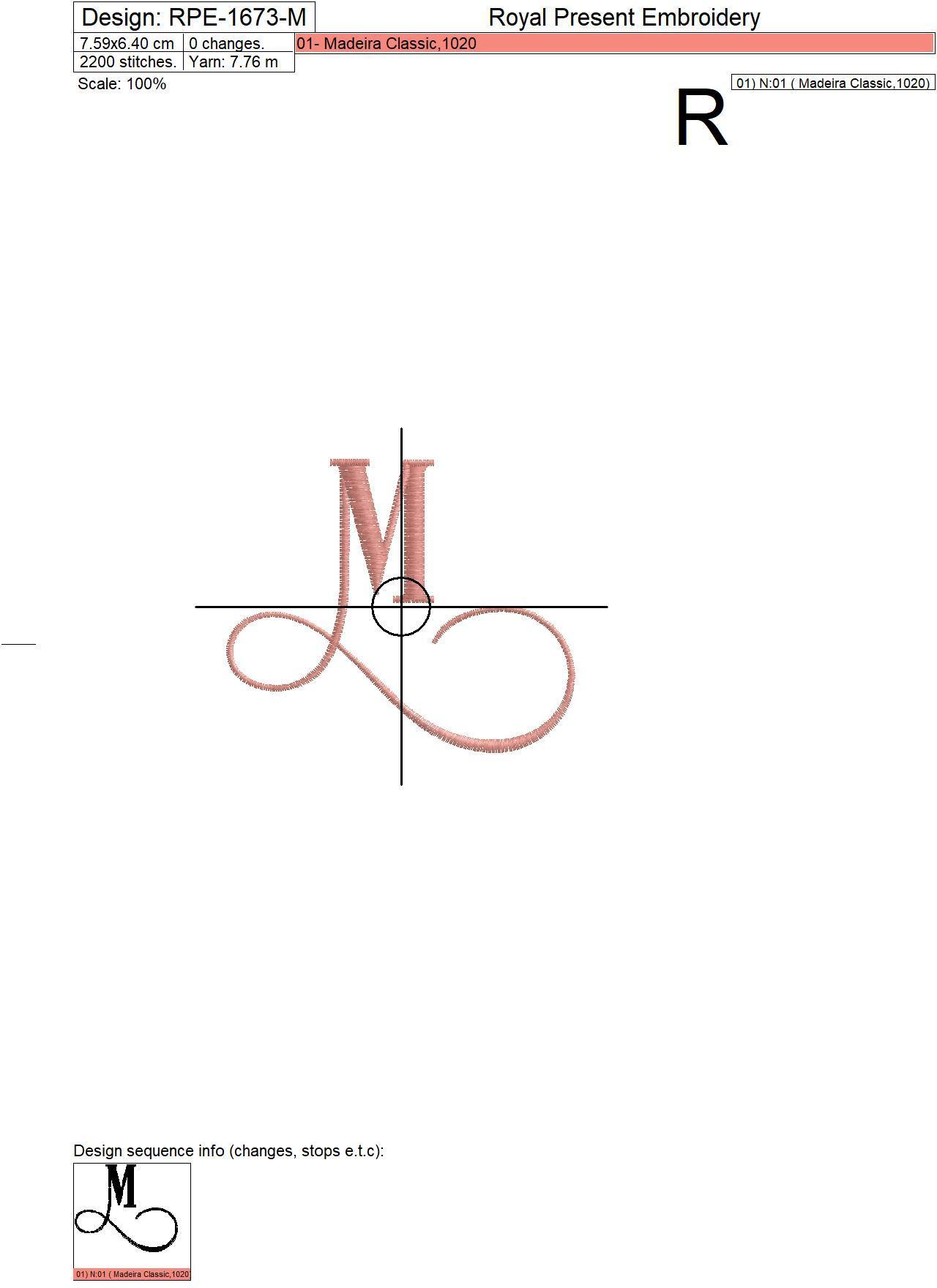 Дизайн машинной вышивки Заглавная буква M