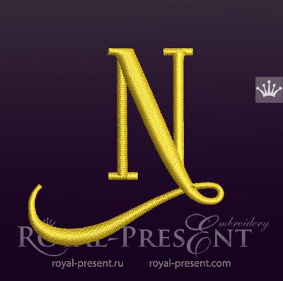 Дизайн машинной вышивки Заглавная буква N вариант 2