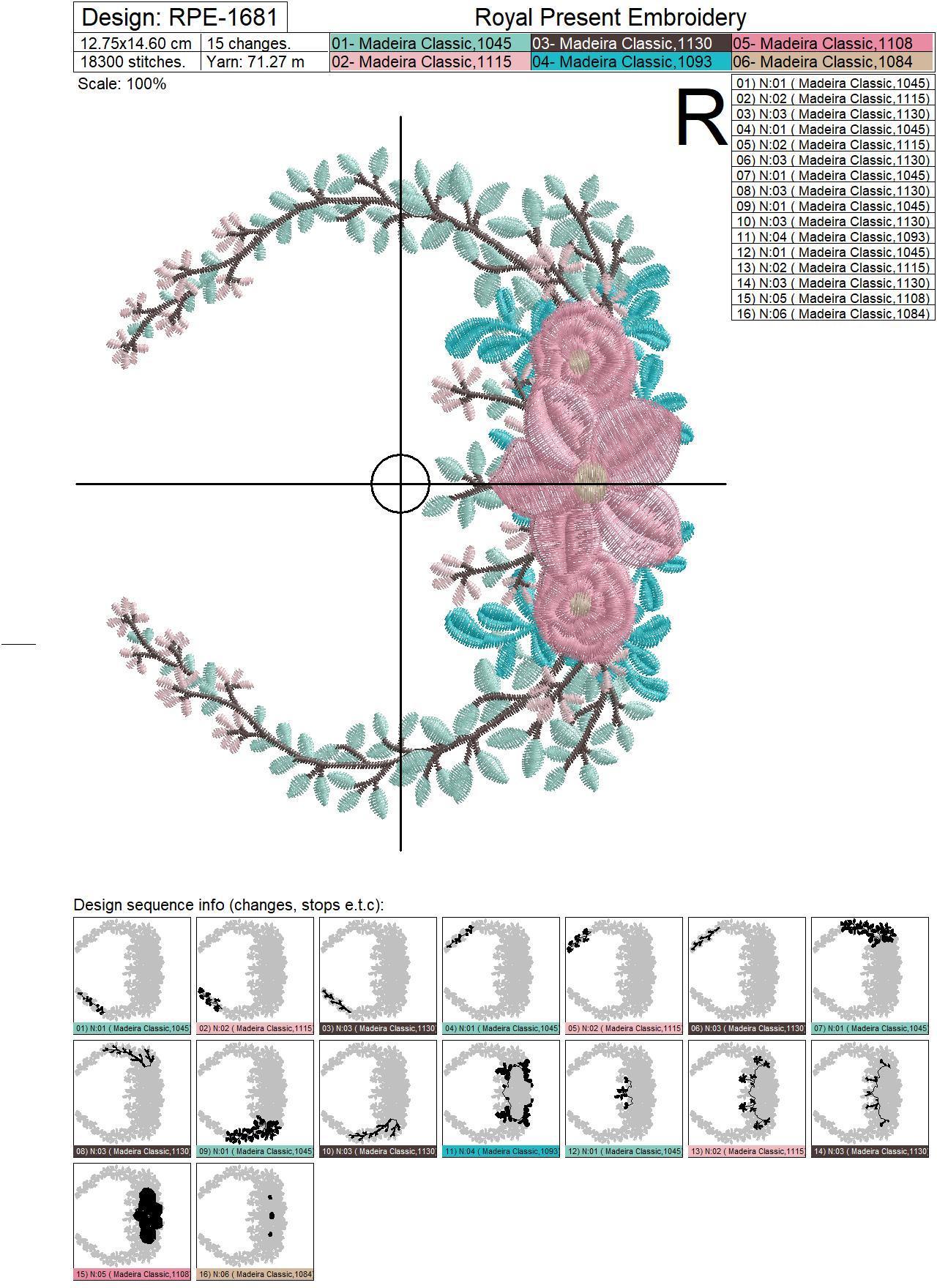Дизайн машинной вышивки Цветочная рамка для монограммы - 4 размера