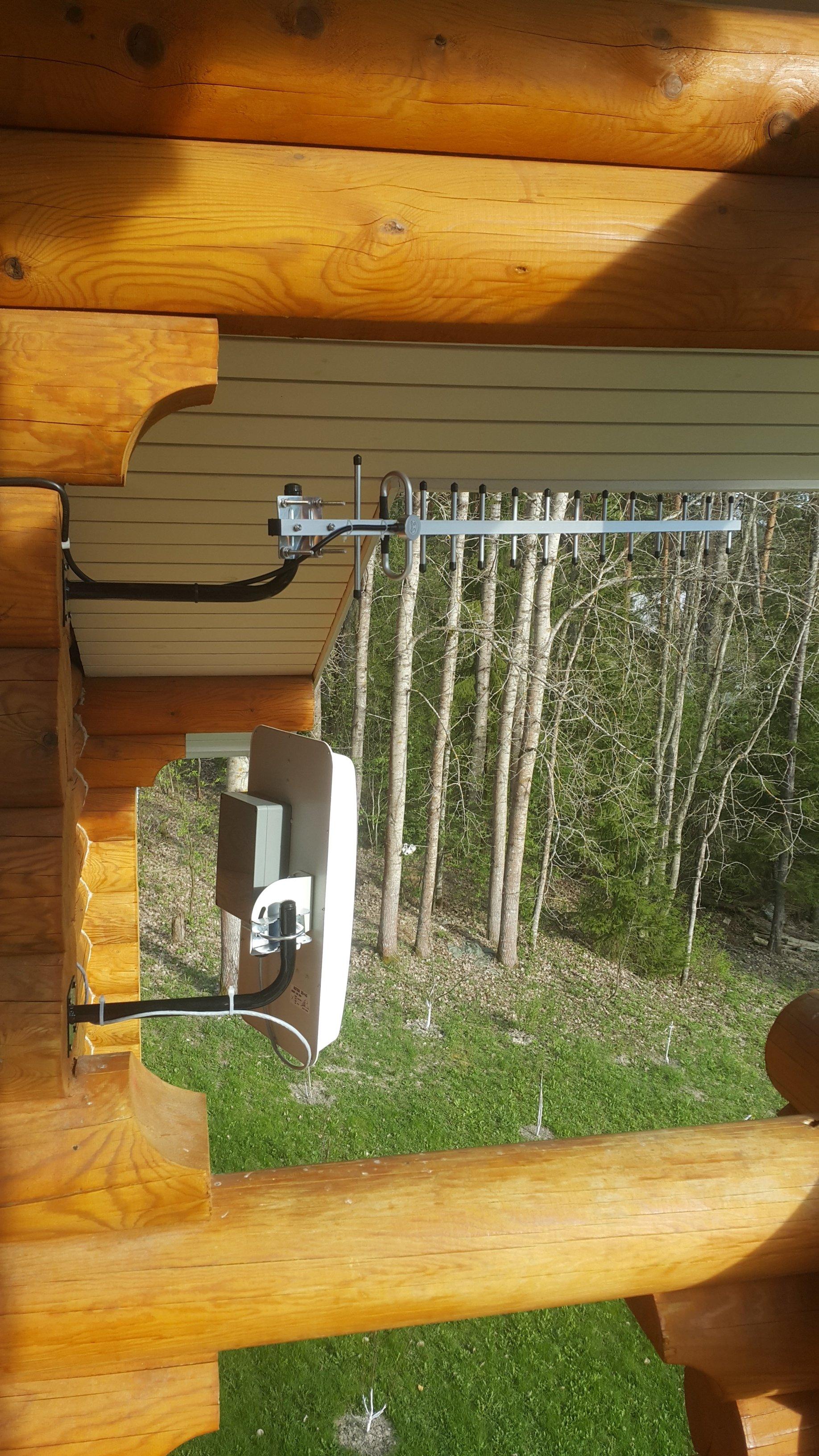 Монтаж антенны GSM 900 MediaWave MWA-9-Y18 на стене деревянного бруса