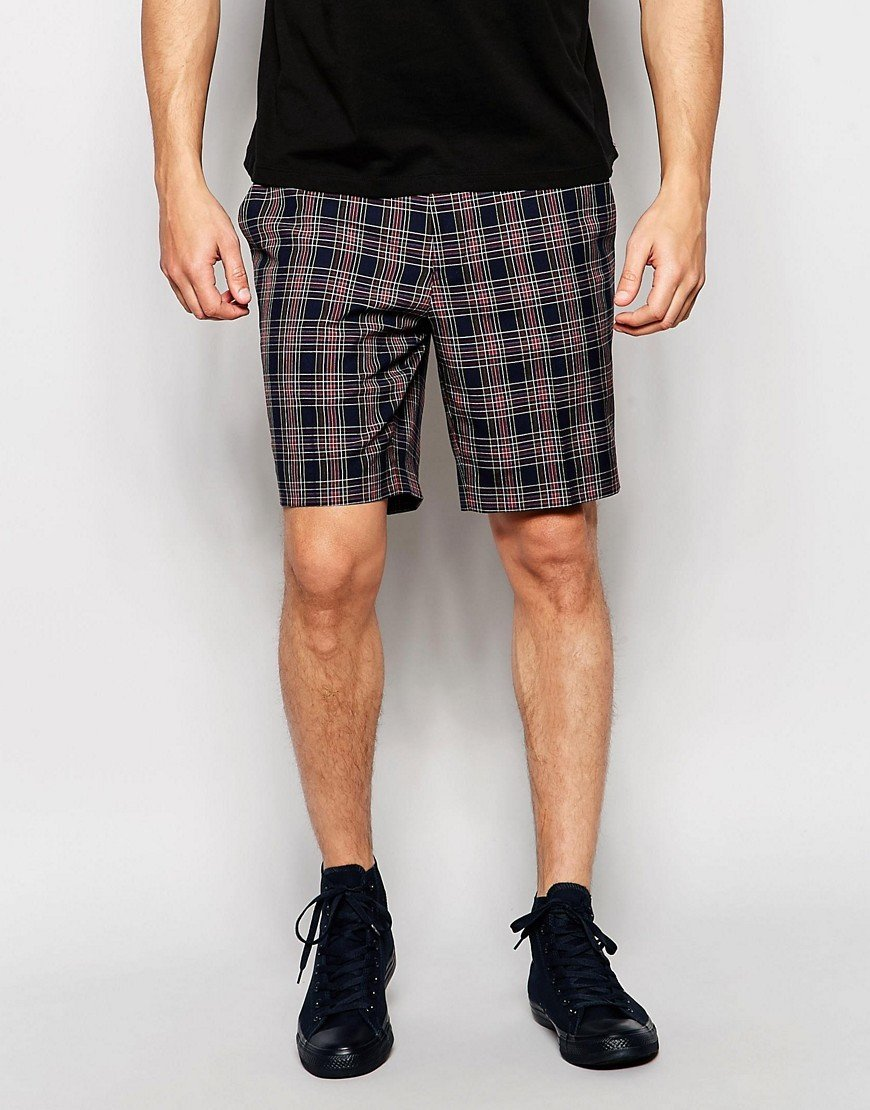 Pantalones cortos de vestir de corte slim a cuadros TN-2300057