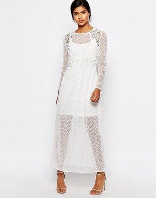 Vestido largo de mezcla de encaje transparente de Vero Moda
