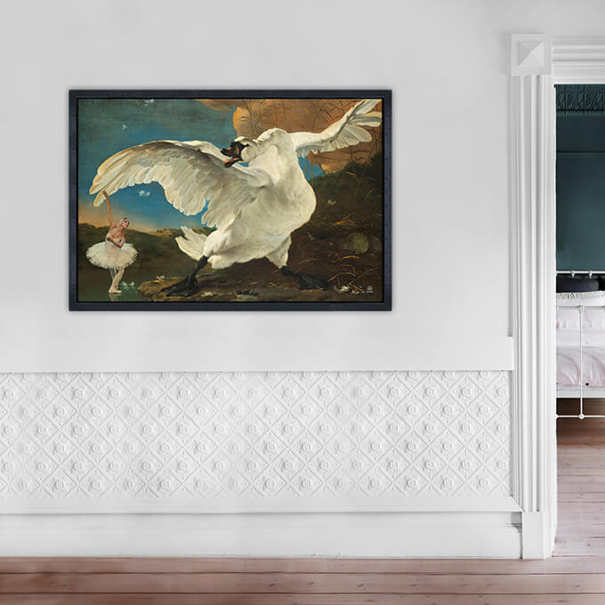 SALE Swan Lake | 1.20 x 0.80 m Dibond in zwarte lijst van € 565,00 voor € 300,00 Swan Lake medium on sale