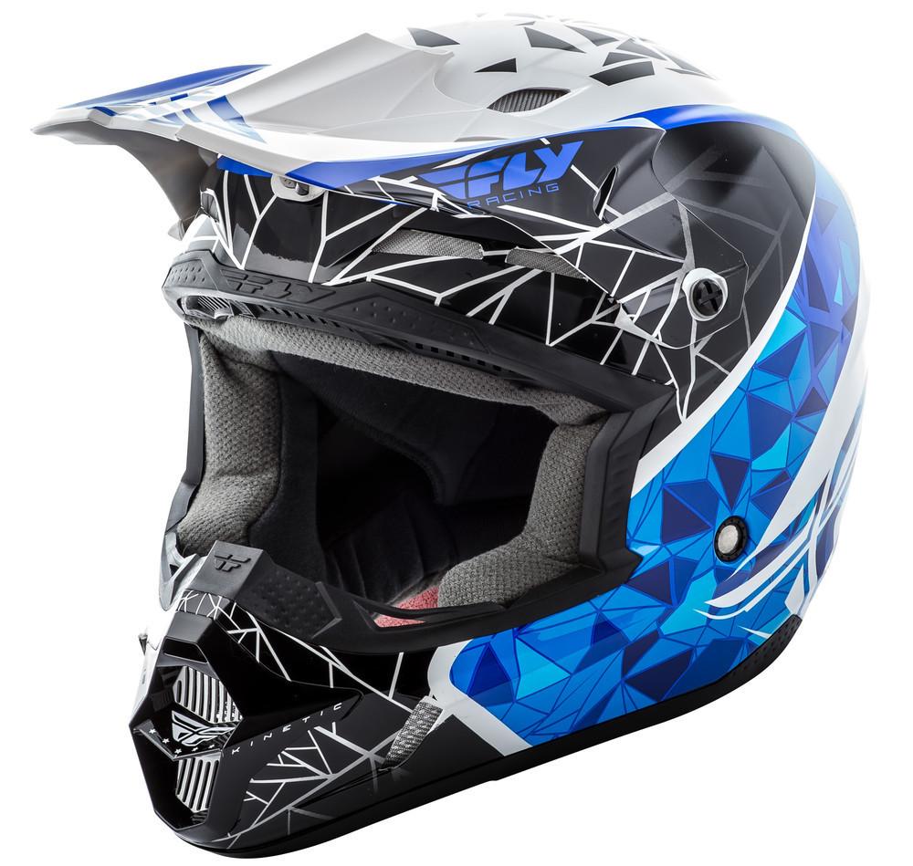 FLY RACING KINETIC CRUX HELMET WHITE/BLACK/BLUE 2X