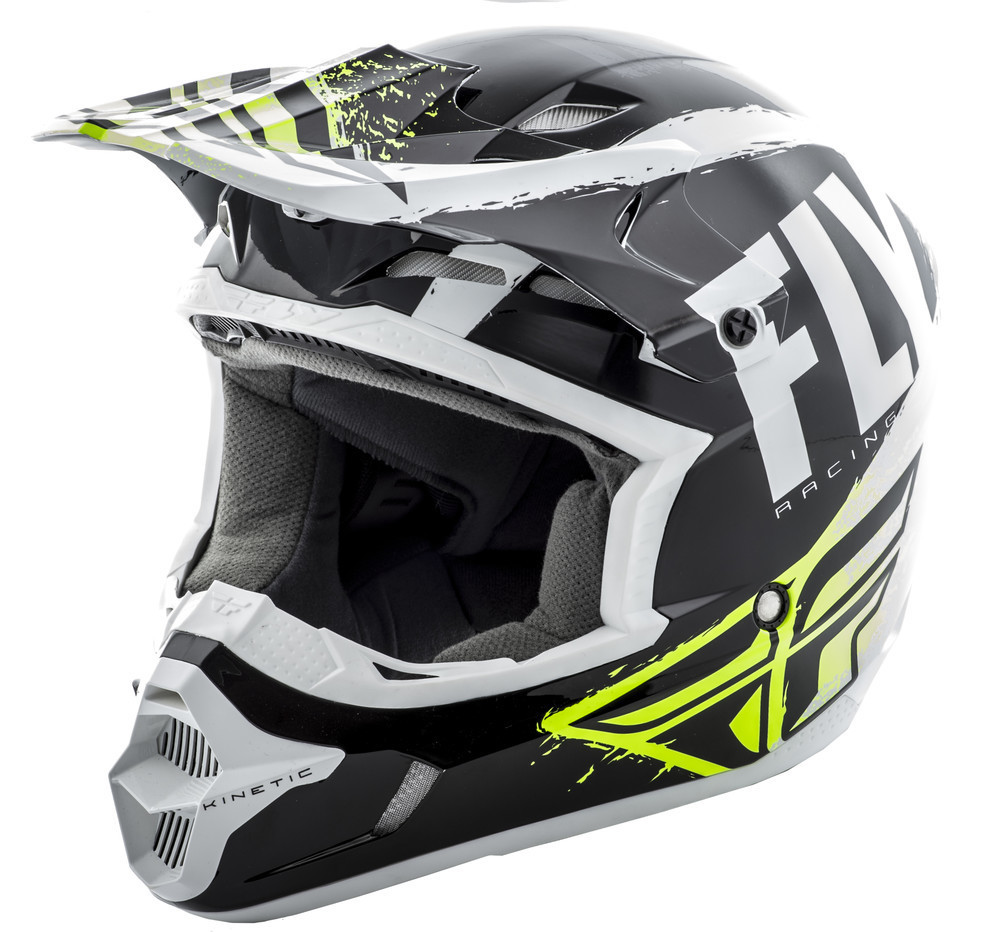 FLY RACING KINETIC BURNISH HELMET BLACK/WHITE/HI-VIS YS