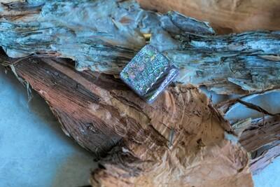 Beautiful green dichroic fused glass pendant