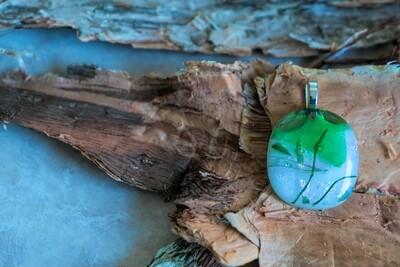 Beautiful green tones fused glass pendant